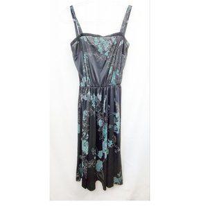 VTG 70s Handmade OOAK Moody Floral Midi Dress EUC